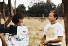 Kathleen Kennedy and Frank Marshall on the set of The Color Purple
