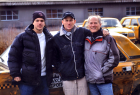 Matt Damon, Lance Armstrong & Frank Marshall on the set of The Bourne Supremacy