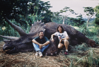 Steven Spielberg & Kathleen Kennedy on the set of Jurassic Park